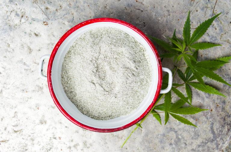 Marijuana and wheat mixed flour for CBD-infused recipes