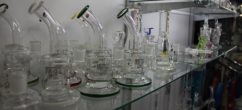Glass Dab Rig Selection on Smoke Shop Shelf