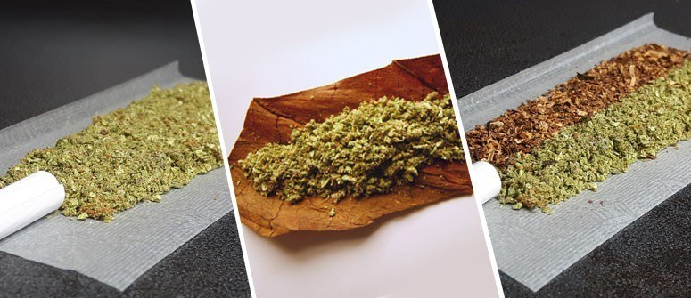 Three adjacent photos of ground herb on rolling papers