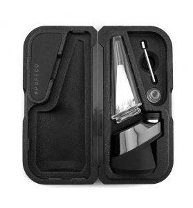 Open Black Case of Puffco PEAK Smart Rig Dabbing Kit