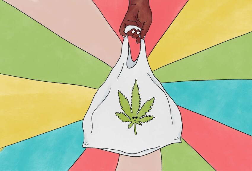 Animation of hand holding plastic bag with cannabis leaf