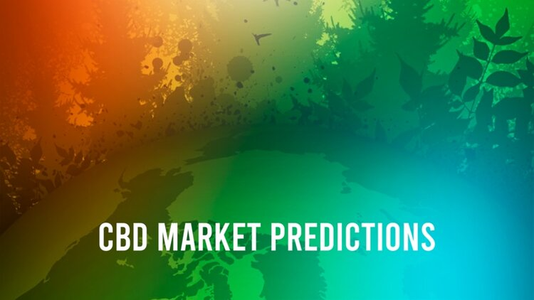 'CBD Market Prodictions' and colored art of plants and Earth