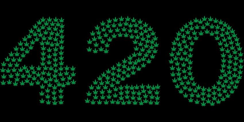 "Small, green cannabis leaf icons forming the term ""420"""