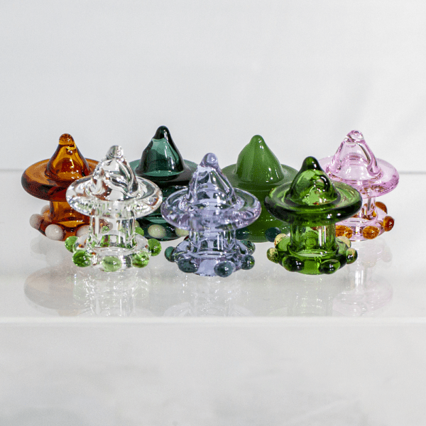 Handmade locally blown Moxie Glass carb caps in assorted colors in 710 Pipes' online smoke shop