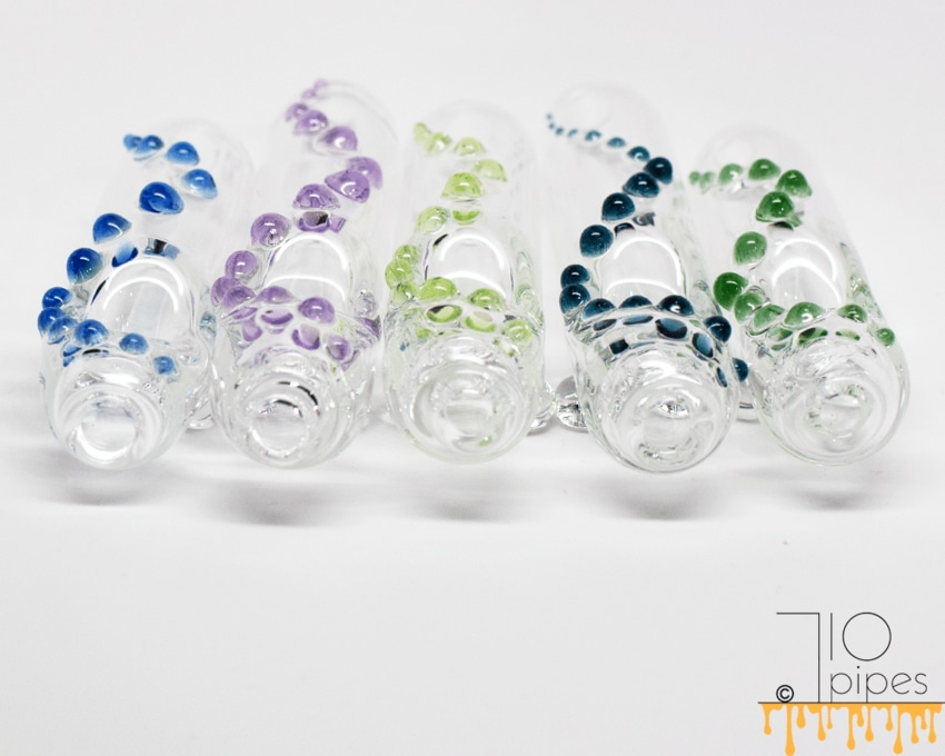 Five transparent glass steamroller hand pipes with accents in assorted colors