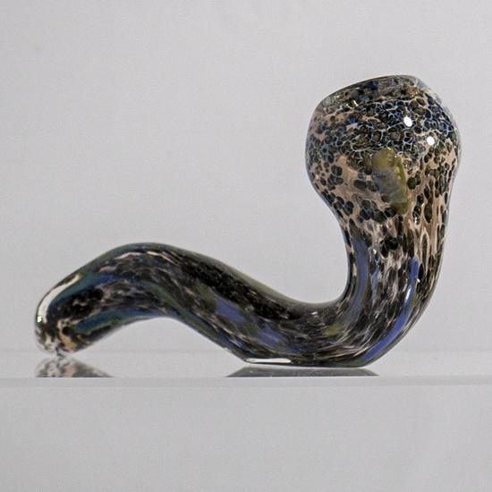 Frit fumed Sherlock glass hand pipe by Denver glassblower HP 101