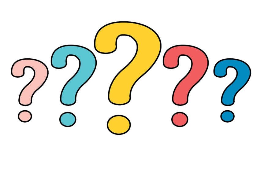 Animation of five question marks in assorted colors on white background
