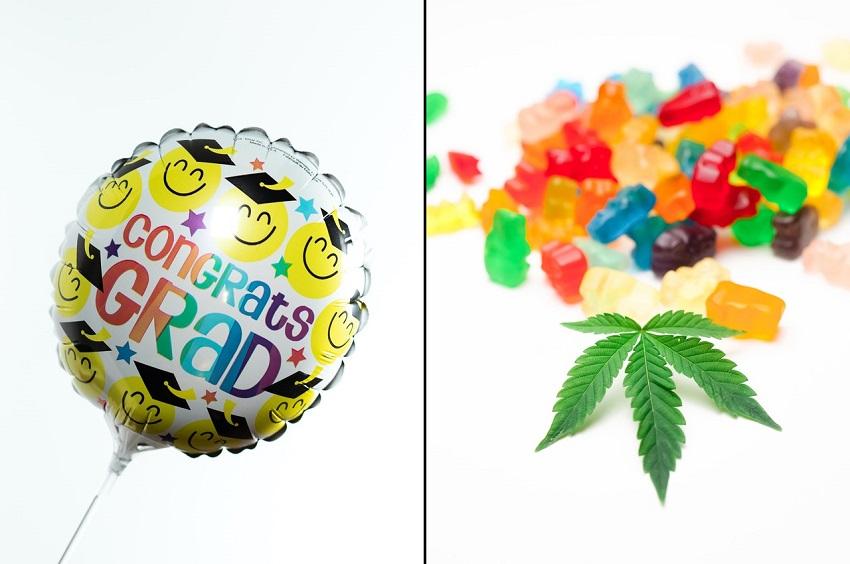 Cannabis leaf and gummy cannabis edibles superimposed beside celebratory graduation ballon