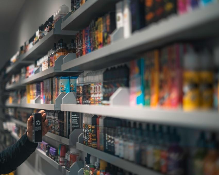 Ejuice selection on vape shop shelves